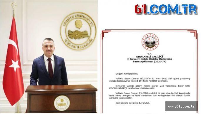 Trabzon Vakfıkebir'li Hemşehrimiz Kırklareli Valisi Osman Bilgin'in Testi Pozitif Çıktı