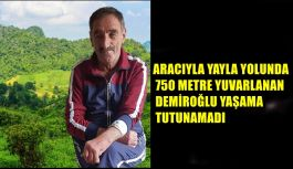 ARACIYLA YAYLA YOLUNDA 750 METRE YUVARLANAN DEMİROĞLU YAŞAMA TUTUNAMADI